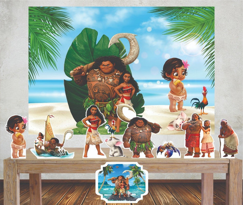 Imagem 1 de 5 de Kit Moana Painel Poli Banner + Displays Festa Decoração Mesa