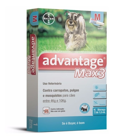 Antipulgas Max3 P/ Cães De 4 A 10kg - 1 Pipeta