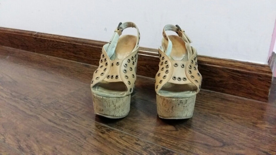 Zapatos Plataforma De Cuero. Color Camel. Talle 35.