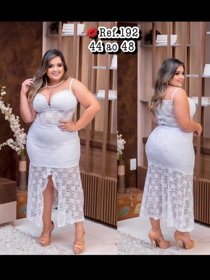 Vestido Plus Size Branco Rendado Do 44 Ao 54
