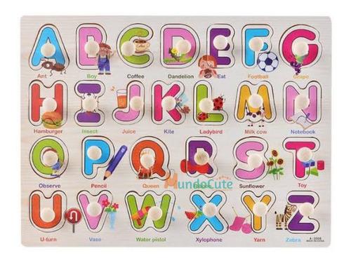 Imagen 1 de 5 de 2 Tablas De Madera Rompecabezas Abecedario Y Números Con Pin