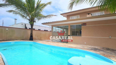 Linda Casa Com Piscina A 50m Da Areia Da Praia - Amplos Ambientes, Veja Fotos! - Ca0047