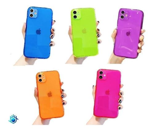 Imagen 1 de 10 de Funda Protector iPhone Candy Neon Resistente Airbag Case 3d