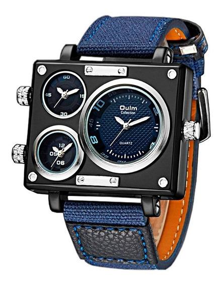 Reloj Hombre Militar Vintage Oulm Acero Original Importado