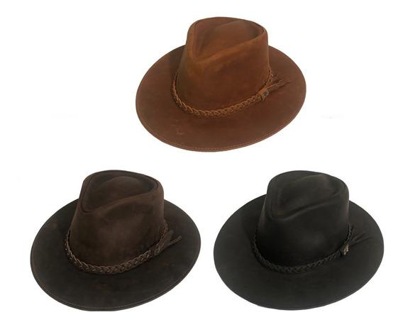 Sombrero 100% De Cuero Importado Del Ecuador 3 Colores