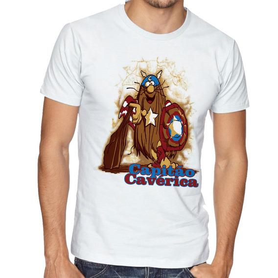 Camiseta Capitão America Caverna Blusas Manga Curta Tamanho