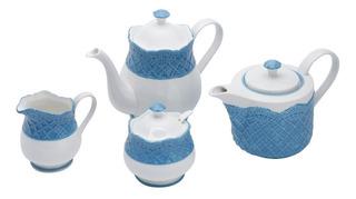 Jogo Para Chá/café Em Porcelana Wolff Givemy 4 Peças Azul