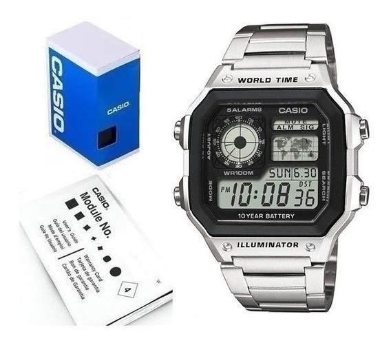 Reloj Casio Ae1200 Hora Mapa Mundial Temporizador