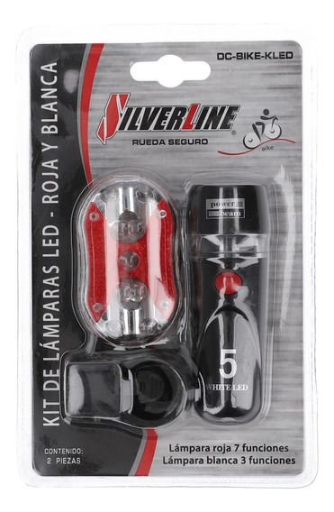 Kit Linterna Silverline Ciclismo White Led 5 Negro