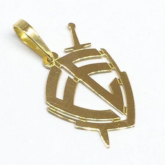 Gargantilha C/ Pingente Escudo Da Fé Em Ouro 18k Pequeno