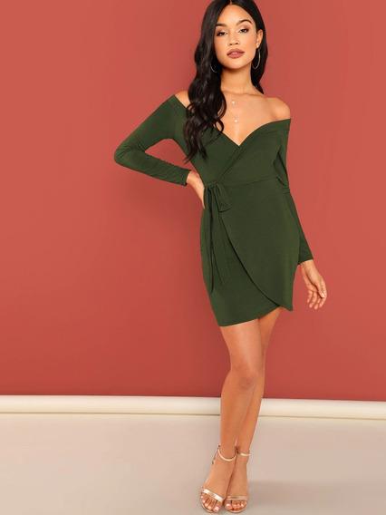 Vestido Bardot De Envoltura Atado Propio - Mujer W
