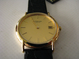 Reloj Raymond Weil Hombre Caja Enchapado Oro 10 Mic. Cuero