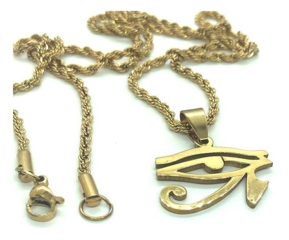Corrente Pingente Olho Tudo Vê Hórus Illuminati Egito Aço P3