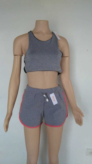 Short Deportivo Dama Elastizado Algodón Combinado Gris Rosa
