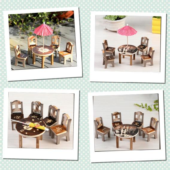 Mini Centro Com 04 Cadeiras Kit C/ 5 Unidades + Frete Grátis