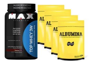 Top Whey 3w 900g Max Titanium + 4 Albumina 500g Naturovos