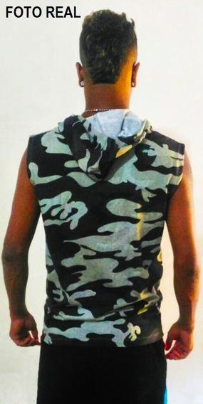 Blusa Regata Machão Com Capuz Masculina Ziper Bolso Canguru