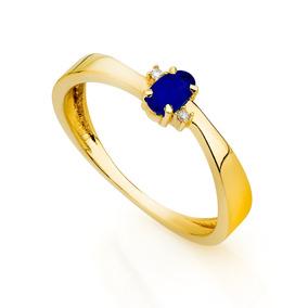 Anel De Formatura De Ouro 18k Safira Com Diamantes An33814 A