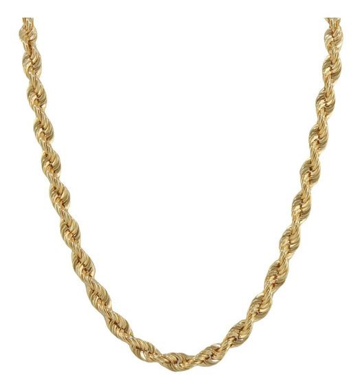 Colar Masculino Corda 45 Cm Ouro 18k 750 Cordão Baiano