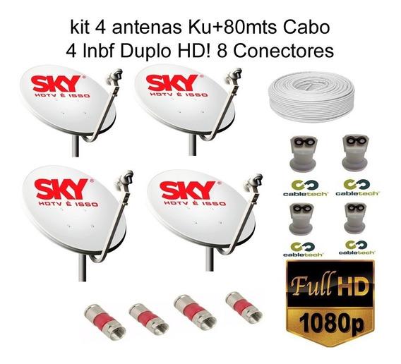 4 Antena De 60 Cm 80 M De Cabo Rg 59 8 Conectores 4 Lnb Du
