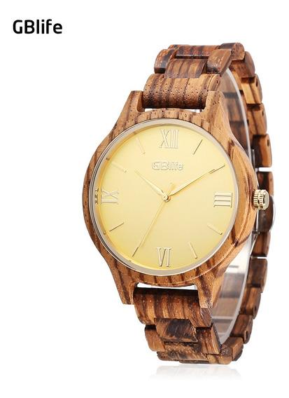 Reloj De Pulsera De Cuarzo De Madera Para Caballeros De Oro