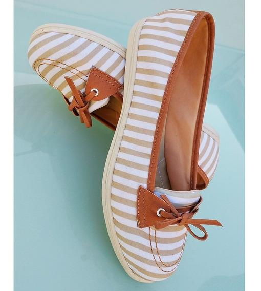 Sapato Feminino Dockside Bico Redondo Listra Caramelo Clara