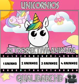 Retrospectiva Animada Para Aniversário Tema Unicornio