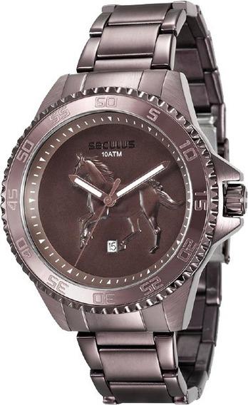Promoção Relógio Seculus Masculino Cavalo Marrom Original