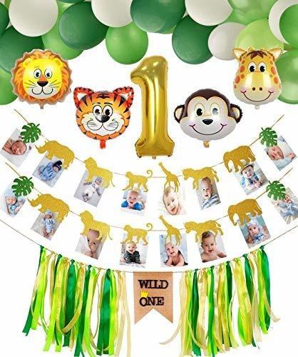 Imagen 1 de 7 de Safari Jungle Theme 1er Cumpleaños Decoraciones, Banner De