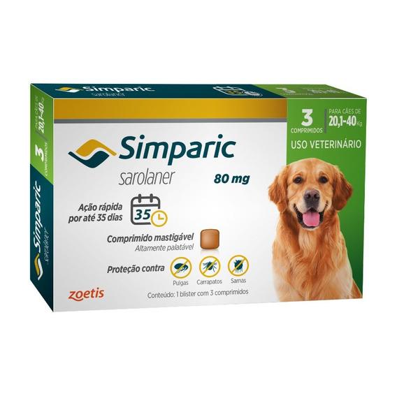 Simparic 80 Mg Para Cães 20,1 A 40 Kg