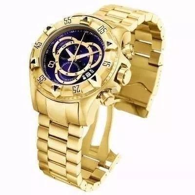 Relógio Masculino Dourado Mostrador Azul Frete Gratís