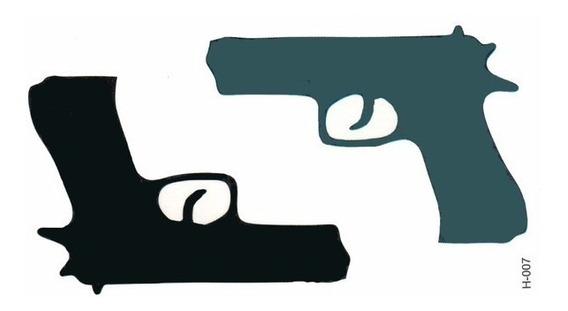 Tattoo Tatuagem Temporária Falsa Arma Pistola