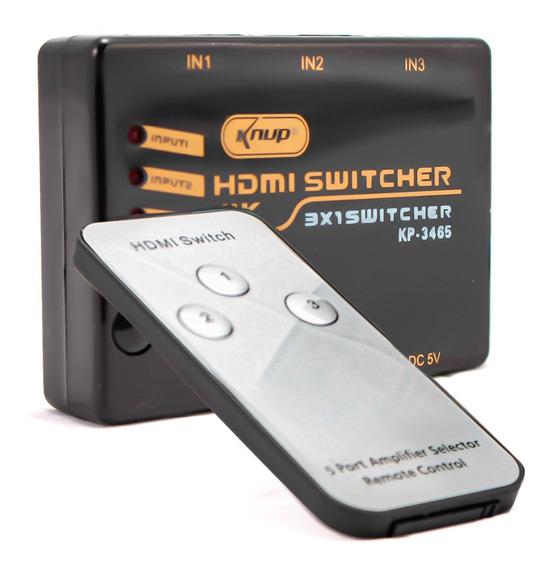 Adaptador Switch Hdmi 3x1 4k 3 Entradas 1 Saída Tv Ps4 Xbox