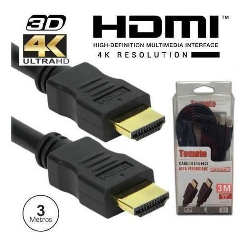 3x Cabos Hdmi 3mt 4k 3d Ultra Hd Full Hd V.2.0 Blindado Gold