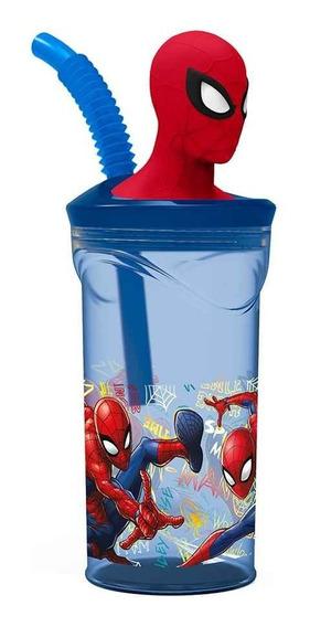 Vaso Spiderman Con Figura En 3d Licencia Casa Valente