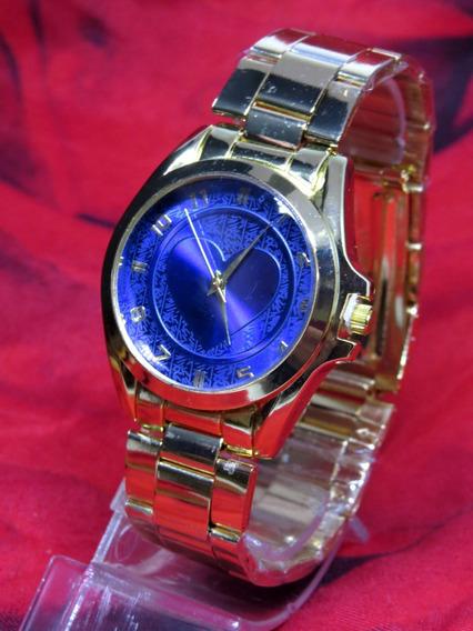 Relógio Feminino Dourado Coração Azul Original + Caixa C287