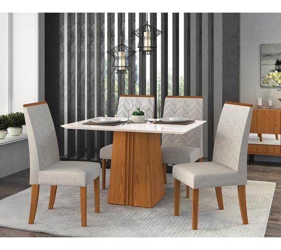 Mesa De Jantar Em Mdf E Mdp, 4 Cadeiras Áurea, Tecido Linho - Dj Móveis Itália