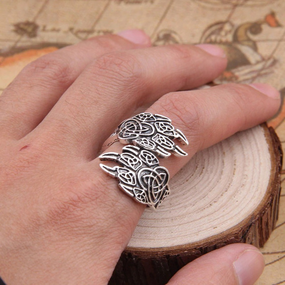 Anel Viking Amuleto Pata Urso Ragnar Templário Ajustável