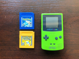 Game Voy Color Verde + Pokemon Yellow Y Pokemon Blue