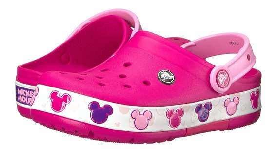 Crocs Mickey Luces -crocband Mickey Fnlb Lights Candy Pink