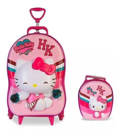 Kit Mochila Infantil Hello Kitty E Lancheira 3d - Maxtoy