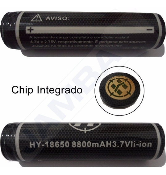 Kit 05 Bateria Recarregável Lítio 18650 3.7v 8800mah
