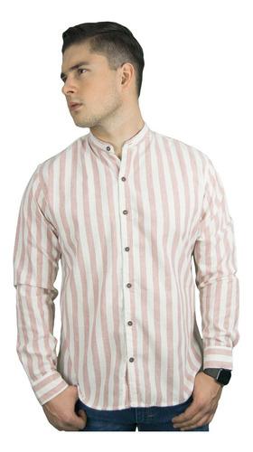 Camisa Casual De Hombre Manga Larga Rayas Cuello Mao