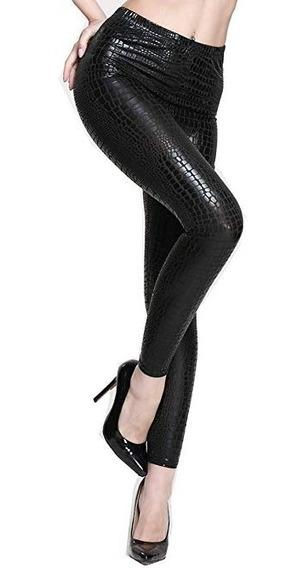 Leggins Legin Jeans Malla Negro Snake Skin Cuero Piel Vivora