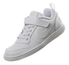 Tenis Nike Escolar Niños Court Borough Blanco Negro Piel Vac