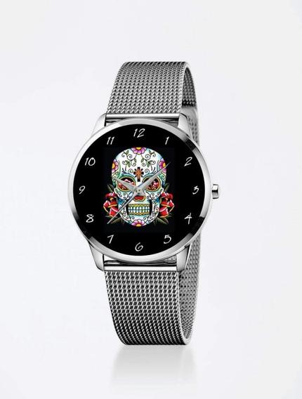 Relógio De Pulso Personalizado Desenho Caveira Mexicana Fmn