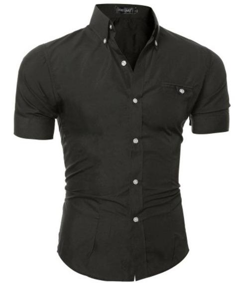 Camisa Masculina Manga Curta Com Elastano Melhor Tecido