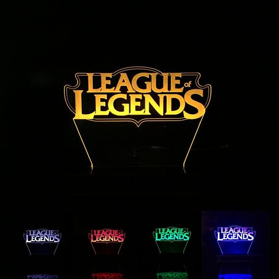 Luminária League Of Legends Lol Abajur Acrílico Com Led