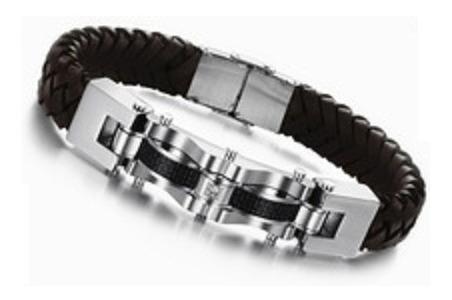 Bracelete Pulseira Masculina Cristal Couro Aço Inoxidável