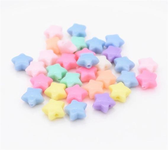 Miçanga Passante Estrela 1,5 Cm Pulseira Infantil Colorida